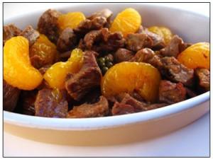 Biefstuk met groene  peper en mandarijntjes