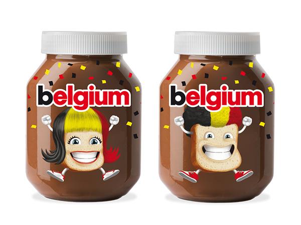 Nutella-potten in de Belgische kleuren