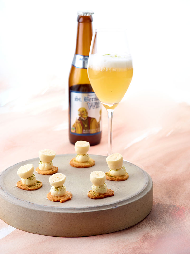 Amuse op basis van Groendal (kaas) en bier