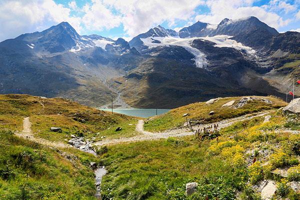 De Berninapas in Zwitserland en Italië