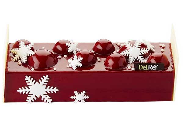 Kerstbuche Almeria Coulis en mousse van frambozen met een mousse van chocolade (64%) op een bodem van brownie