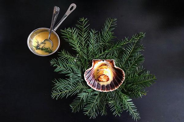 Coquille-met-raap,-appelazijn-en-dennenboter